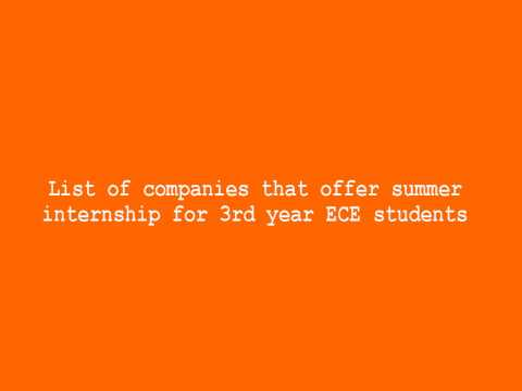 List of companies that offer summer internship for 3rd year ECE students