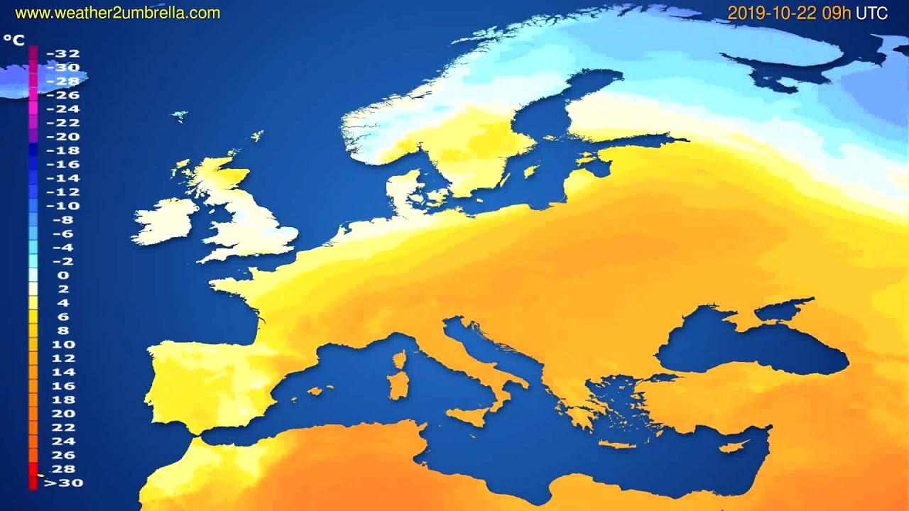 Temperature forecast Europe // modelrun: 00h UTC 2019-10-20