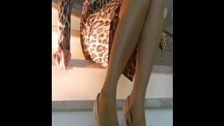 Legs In Beige Tights And High Heels To Admire