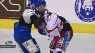 KHL Medveščak Zagreb : EC KAC (6.3.2012) - Massive hockey fight (including goalies)