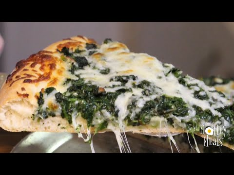 Pizza with Garlic and Spinach
