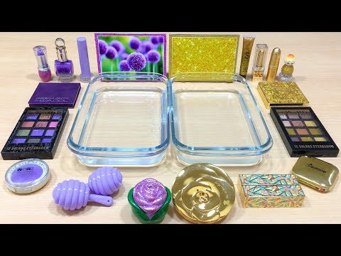 PURPLE vs GOLD! Mixing Makeup Eyeshadow into Clear Slime! Special Series #107 Satisfying Slime Video