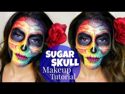 Colorful Sugar Skull Makeup Tutorial | Dia de los Muertos - Halloween