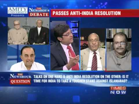 newshour - In a debate moderated by TIMES NOW's Editor-in-Chief Arnab Goswami, panelists -- V Mahalingam, Brigadier (Retd); Dr Subramanian Swamy, Leader, BJP; Sushant S...
