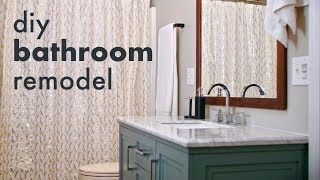 Remodeling A Guest Bathroom // How To Install A Toilet & Vanity, Build A Mirror Frame