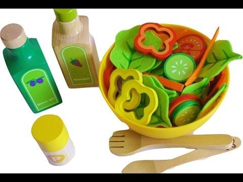 Impara i nomi delle verdure preparando l'insalata! Giocattoli in legno e feltro Mykidstoys.it