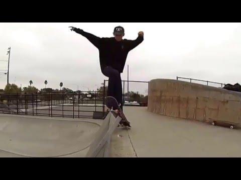 Jax neel skateboarding Ollie in slow motion Santa Cruz skate park