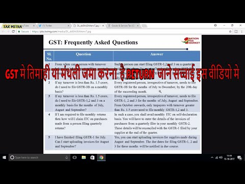 GST RETURN CONFUSION MONTHLY OR QUARTERLY ?