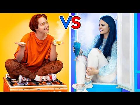 Heiß vs Kalt Challenge - Feuriges Mädchen vs Eisiges Mädchen
