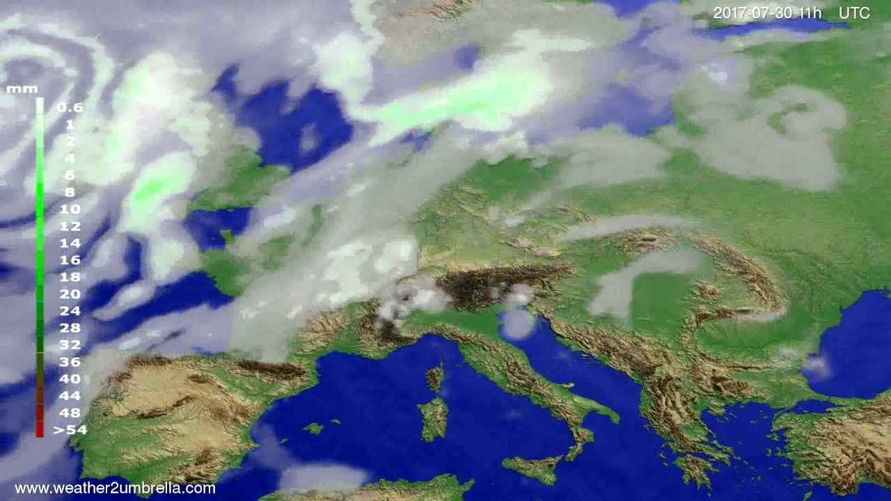 Precipitation forecast Europe 2017-07-27