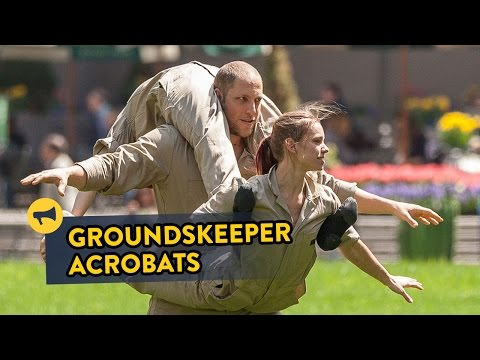 Groundskeepers Turn Into Acrobats In Manhattan
