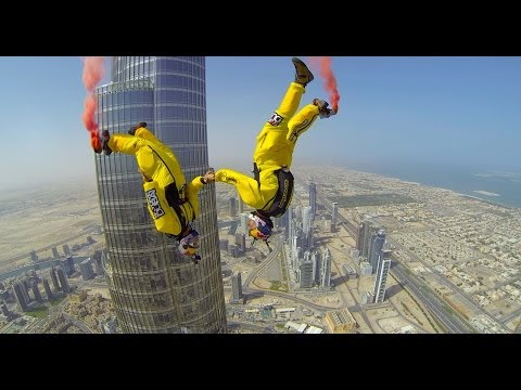 sky dive - Skydive Dubai sponsored Soul Flyers World Champions Vince Reffet and Fred Fugen break a new World Record by BASE jumping from above the pinnacle of the World...