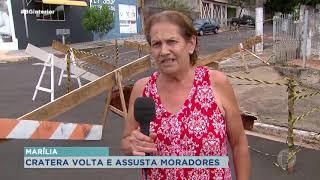 Cratera assusta moradores do bairro Palmital em Marília