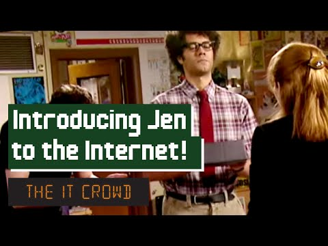 crowd - Moss introduces Jen to a new concept in business technology: The Internet.