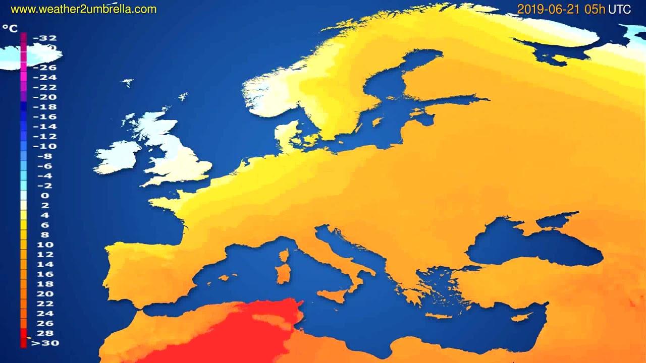 Temperature forecast Europe // modelrun: 00h UTC 2019-06-19