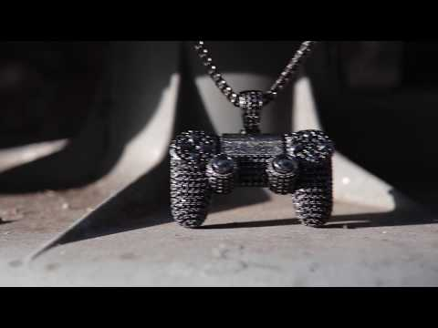 Black Game Controller with CZ Stones | Hip Hop Necklaces | King Ice