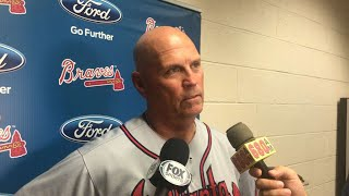Brian Snitker discusses R.A. Dickey's tough outing as well as the D-backs' offensive depth in the Braves' loss to ArizonaCheck out http://MLB.com/video for more!About MLB.com: Former Commissioner Allan H. (Bud) Selig announced on January 19, 2000, that the 30 Major League Club owners voted unanimously to centralize all of Baseball's Internet operations into an independent technology company. Major League Baseball Advanced Media (MLBAM) was formed and charged with developing, building and managing the most comprehensive baseball experience available on the Internet. In August 2002, MLB.com streamed the first-ever live full length MLB game over the Internet when the Texas Rangers and New York Yankees faced off at Yankee Stadium. Since that time, millions of baseball fans around the world have subscribed to MLB.TV, the live video streaming product that airs every game in HD to nearly 400 different devices. MLB.com also provides an array of mobile apps for fans to choose from, including At Bat, the highest-grossing iOS sports app of all-time. MLB.com also provides fans with a stable of Club beat reporters and award-winning national columnists, the largest contingent of baseball reporters under one roof, that deliver over 100 original articles every day. MLB.com also offers extensive historical information and footage, online ticket sales, official baseball merchandise, authenticated memorabilia and collectibles and fantasy games.Major League Baseball consists of 30 teams split between the American and National Leagues. The American League consists of the following teams: Baltimore Orioles; Boston Red Sox; Chicago White Sox; Cleveland Indians; Detroit Tigers; Houston Astros; Kansas City Royals; Los Angeles Angels ; Minnesota Twins; New York Yankees; Oakland Athletics; Seattle Mariners; Tampa Bay Rays; Texas Rangers; and Toronto Blue Jays. The National League, originally founded in 1876, consists of the following teams: Arizona Diamondbacks; Atlanta Braves; Chicago Cubs; 