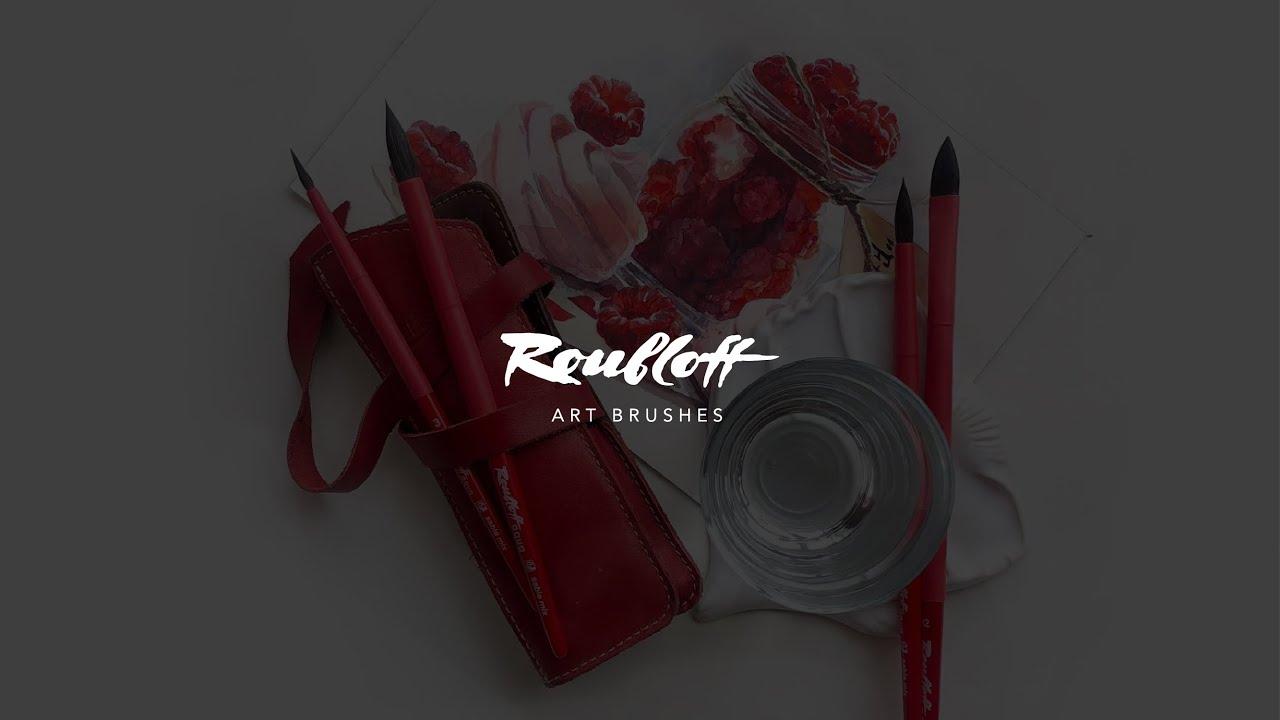 """Кисть соболь-микс круглая Roubloff """"Aqua Red"""" ручка короткая красная, покрытие обоймы soft-touch видео"""