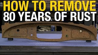 In this video Matt finds a dashboard that he wants to use from one of his projects but wants to remove the rust without using an aggressive  method of rust removal. Get Rust Dissolver Here: http://www.eastwood.com/rust-remover-eastwood-rust-dissolver.html#utm_source=youtube&utm_medium=annotation&utm_campaign=2017-07-20&utm_content=Rust%20DissolverEastwood Rust Dissolver removes only the rust, and won't eat-away at the metal itself. Leaves the newly de-rusted metal ready to paint, plate or powder-coat.Gentle enough for engine partsReusableRemoves about 5 sq. ft. of rust per quartIt will penetrate deep into the metal dissolving the rust in a few hours. Leaves metal ready to paint, plate or powder coat. So gentle, it's suitable for engine parts and is harmless to copper, brass, aluminum, solder, lead, plastic, rubber, seals, wood, and vinyl. Will not remove sound paint. Liquid rust Dissolver works as long as the surface is wet. Items that cannot be fully immersed due to size can be placed in the discharge stream of a commonly available small pump. One gallon de-rusts about 20 square feet of metal. The gel adheres to vertical surfaces and dissolves rust without having to submerse the metal in a tub or bucket. Ideal for quarter-panels, fenders and other vertical surfaces.For more information on Eastwood products visit www.eastwood.com or stay connected with the team via:Facebook - https://www.facebook.com/eastwoodcompany Instagram - http://instagram.com/eastwoodco Blog - http://www.eastwood.com/blog Eastwood has everything you need to do the job right when you're restoring a car, truck or motorcycle - from welders to paint and everything in between.