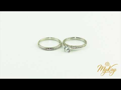 MyKay Classic Solitaire Round Cut SONA Diamond Bridal Ring Set in Sterling Silver