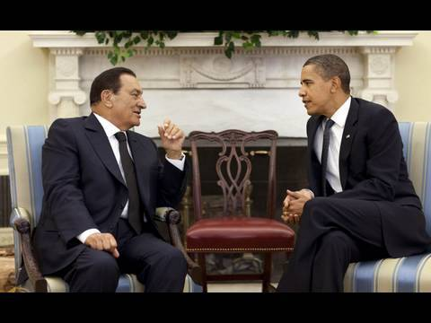 mubarak - President Barack Obama and President Mubarak of Egypt address the press after meetings at the White House on the prospects of peace in the Middle East. Augus...
