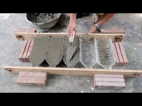 Making a Beautiful Plant Pot With Plastic Bottles and Cement For Small Garden at Home
