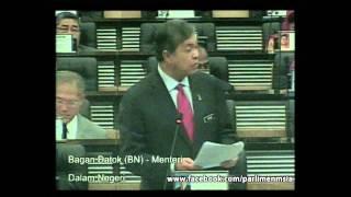 Bagan Datoh Malaysia  city images : Parlimen Malaysia : YB Bagan Datoh (Menteri Dalam Negeri) menjawab soalan