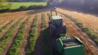 Tractor and bailer filmed from a Quadcopter Drone. Garrykennedy, 1st October 2015. Robin Wallace.
