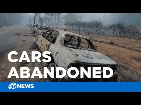 Camp Fire: Burned, abandoned cars after thousands flee Butte County wildfire