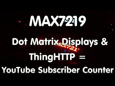 #86 MAX7219 Dot Matrix Display, Thingspeak, ESP8266, Sensor, and Beeper = Subscriber Counter