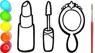 Menggambar Dan Mewarnai Lipstik Maskara Dan Cermin Glitter Untuk Anak-anak | Ara Plays Art