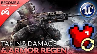 In today's video we set up our regenerating armor system and create a basic damaging function for when the player loses health. We go over the maths used to differentiate between when the player should lose health or armor.Unreal Engine 4 Beginner Tutorial Series:https://www.youtube.com/playlist?list=PLL0cLF8gjBpqDdMoeid6Vl5roMl6xJQGCBlueprints Creations Serieshttps://www.youtube.com/playlist?list=PLL0cLF8gjBpoojQ7YqsSsxycBe5S3ikkV► Next VideoIn the next video we'll continue to bring our shooter game to life.♥ Subscribe for new episodes weekly! http://bit.ly/1RWCVIN♥ Don't forget you can help support the channel on Patreon! https://www.patreon.com/VirtusEduVirtus Learning Hub // Media● Facebook Page - https://www.facebook.com/VirtusEducation●Twitter Page - http://www.twitter.com/virtusedu● Website - https://www.virtushub.co.uk