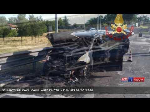 SCHIANTO SUL CAVALCAVIA: AUTO E MOTO IN FIAMME   26/05/2020