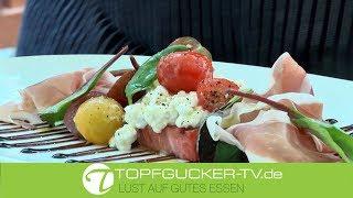 Gegrillte Wassermelone mit Frischkäse, zweierlei Tomate, Balsamico & Parmaschinken