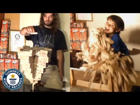 Man builds world record Jenga tower