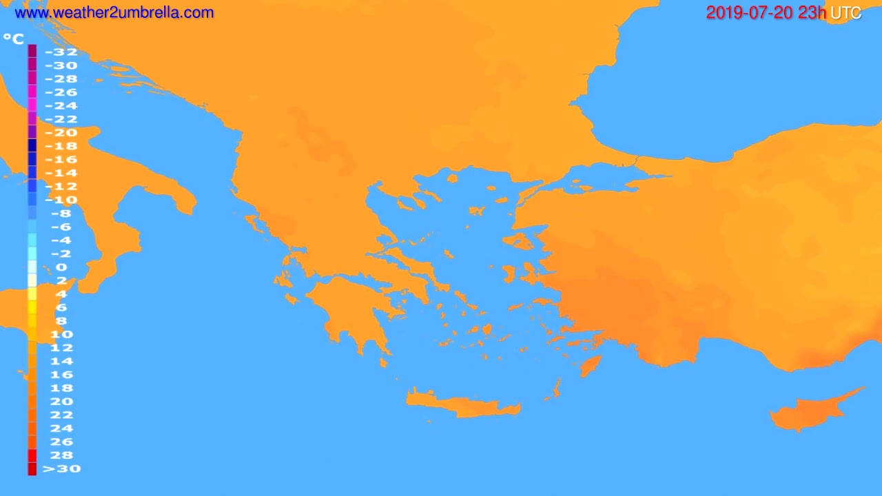 Temperature forecast Greece // modelrun: 12h UTC 2019-07-17