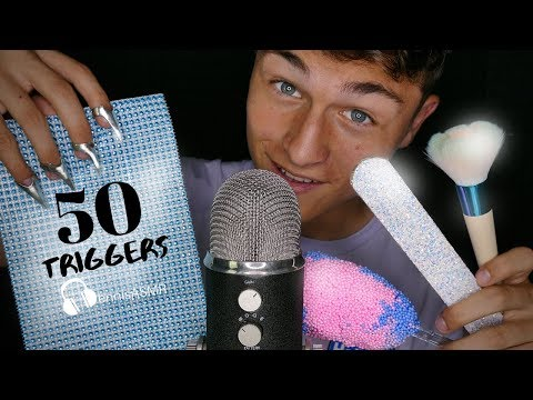 ASMR 50 Triggers In 50 Minutes (NO TALKING) Tapping, Crinkles, Scratching, Shaking (4K) 500k Special