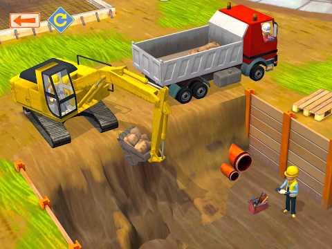 รถแม็คโคร - Little Builders เกมส์ก่อสร้างสำหรับเด็ก ฉาก รถตักดิน การ์ตูน.