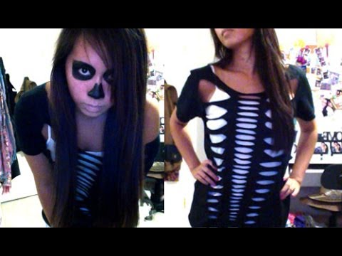 Skeleton Halloween DIY Costume & Makeup – Salinabear Cut Up T-Shirt