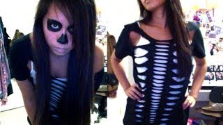 Skeleton Halloween DIY Costume & Makeup - Salinabear Cut Up T-Shirt - YouTube