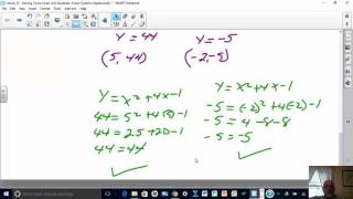 Lesson 22 - Solving Circle-Linear and Quadratic-Linear Systems...
