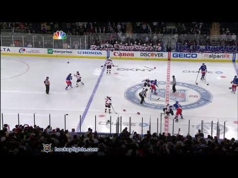 Devils vs Rangers start of game line brawl Mar 19, 2012.      - YouTube