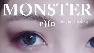 Exo's Monster inspired makeup. Grey-purple eyeshadow and lip colour.