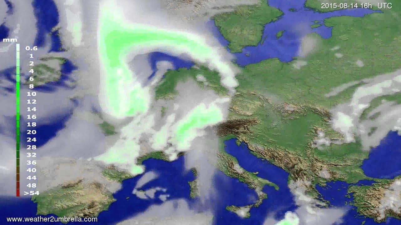 Precipitation forecast Europe 2015-08-11