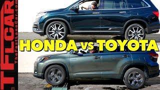 2019 Honda Pilot vs Toyota Highlander Hybrid AWD vs the TFL Slip Test by The Fast Lane Car