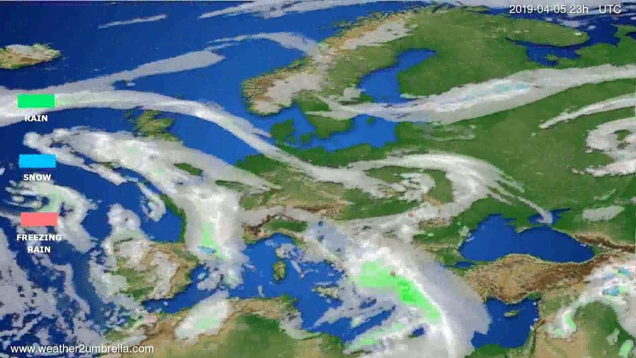 Precipitation forecast Europe // modelrun: 2019-04-02 00:00:00h UTC 2019-04-02