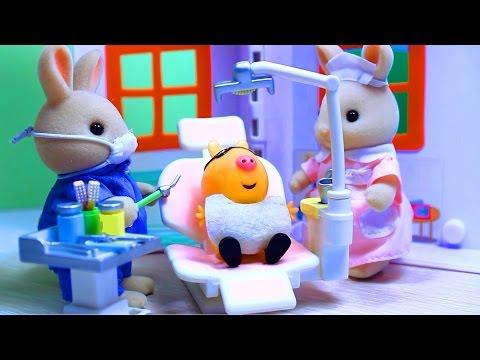 Peppa Pig. Свинка Пеппа. Мультфильм с игрушками. Зубной кабинет доктора Зайца . (видео)