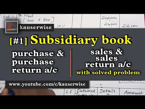 Subsidiary Book #1 (Purchase & Purchase return a/c, Sales and Sales return a/c) :-by kauserwise