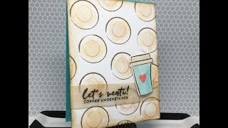 Coffee Card with Distress Inks and Vellum