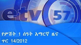 የምሽት 1 ሰዓት አማርኛ ዜና… ጥር 14/2012 ዓ.ም|etv